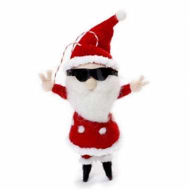 1x kersthangers figuurtjes coole kerstman 12 cm