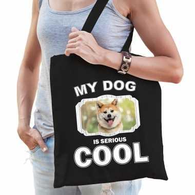 Akita inu honden tasje zwart volwassenen en kinderen - my dog serious is cool kado boodschappentasje