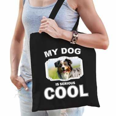 Australische herder honden tasje zwart volwassenen en kinderen - my dog serious is cool kado boodsch