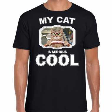 Auto rijdende kat katten / poezen t-shirt my cat is serious cool zwart voor heren