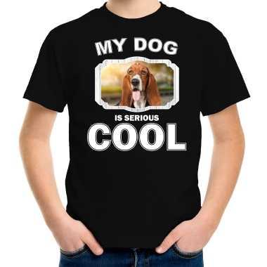 Basset honden t-shirt my dog is serious cool zwart voor kinderen