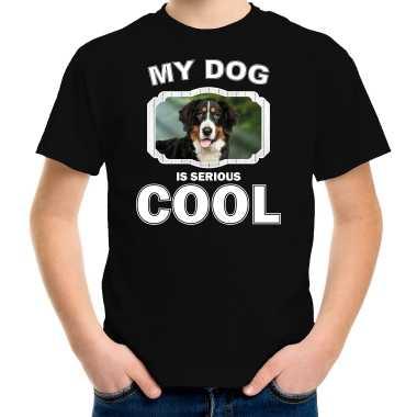 Berner sennen honden t-shirt my dog is serious cool zwart voor kinderen
