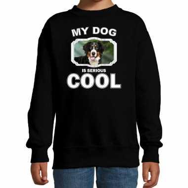 Berner sennen honden trui / sweater my dog is serious cool zwart voor kinderen