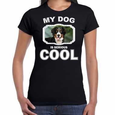 Berner sennens honden t-shirt my dog is serious cool zwart voor dames