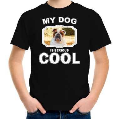 Britse bulldog honden t-shirt my dog is serious cool zwart voor kinderen