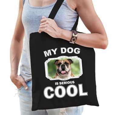 Britse bulldog honden tasje zwart volwassenen en kinderen - my dog serious is cool kado boodschappen