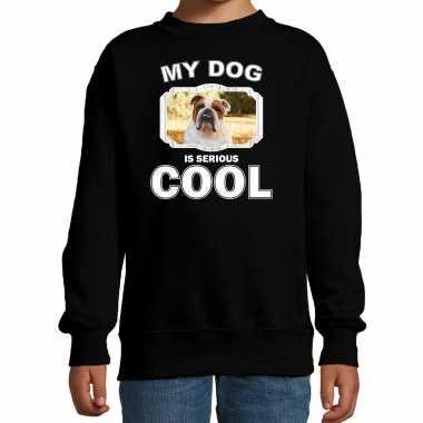 Britse bulldog honden trui / sweater my dog is serious cool zwart voor kinderen