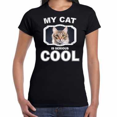Bruine kat katten / poezen t-shirt my cat is serious cool zwart voor dames
