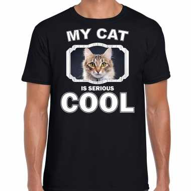 Bruine kat katten / poezen t-shirt my cat is serious cool zwart voor heren