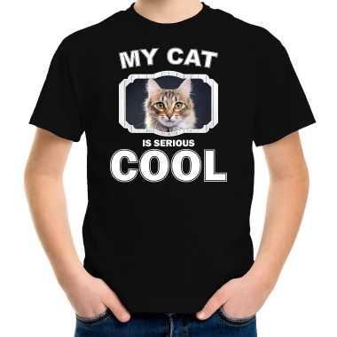 Bruine kat katten / poezen t-shirt my cat is serious cool zwart voor kinderen