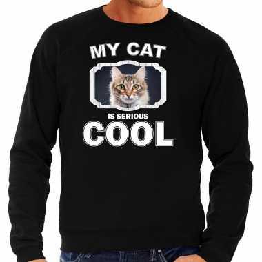 Bruine kat katten sweater / trui my cat is serious cool zwart voor heren