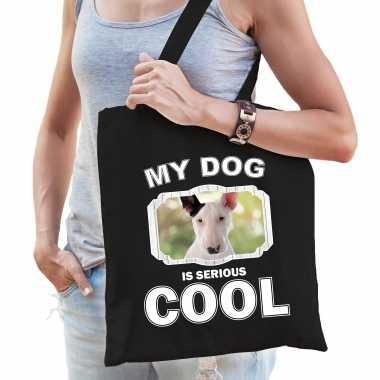 Bullterrier honden tasje zwart volwassenen en kinderen - my dog serious is cool kado boodschappentas