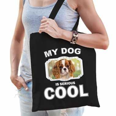 Charles spaniel honden tasje zwart volwassenen en kinderen - my dog serious is cool kado boodschappe