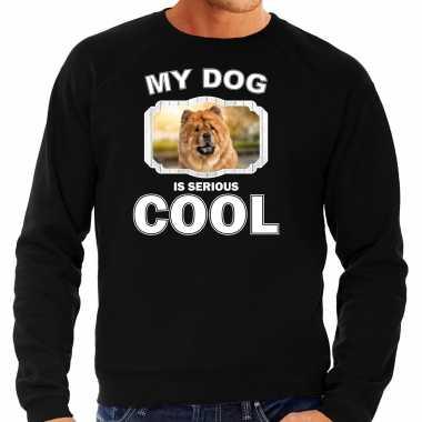 Chow chow honden sweater / trui my dog is serious cool zwart voor heren