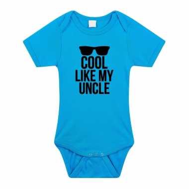 Cool like my uncle cadeau baby oom rompertje blauw jongens