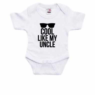 Cool like my uncle cadeau baby oom rompertje wit jongen/meisje