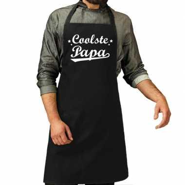 Coolste papa cadeau bbq/keuken schort zwart heren