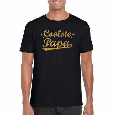 Coolste papa cadeau t-shirt met gouden glitters op zwart voor heren