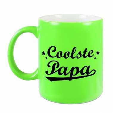 Coolste papa mok / beker neon groen voor vaderdag/ verjaardag 330 ml