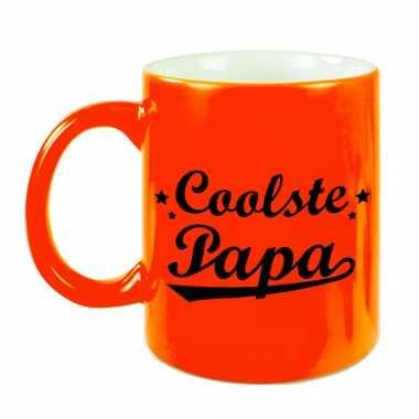 Coolste papa mok / beker neon oranje voor vaderdag/ verjaardag 330 ml