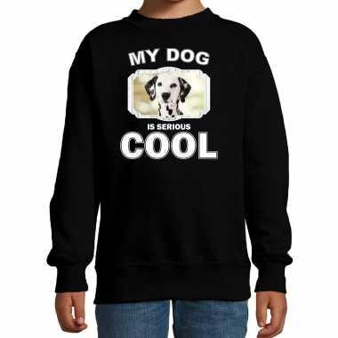 Dalmatier honden trui / sweater my dog is serious cool zwart voor kinderen