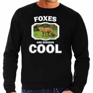 Dieren bruine vos sweater zwart heren - foxes are cool trui