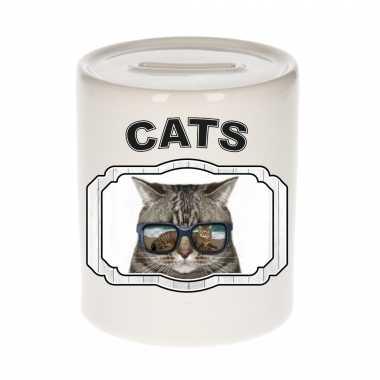 Dieren coole poes spaarpot - cats/ katten spaarpotten kinderen 9 cm
