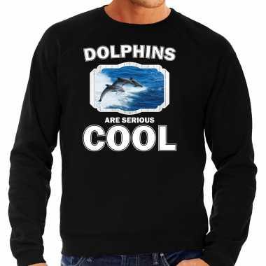 Dieren dolfijn groep sweater zwart heren - dolphins are cool trui