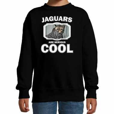 Dieren gevlekte jaguar sweater zwart kinderen - jaguars are cool trui jongens en meisjes