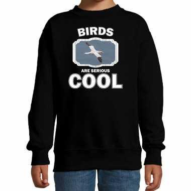 Dieren jan van gent vogel sweater zwart kinderen - birds are cool trui jongens en meisjes