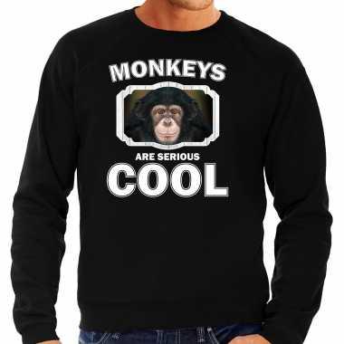 Dieren leuke chimpansee sweater zwart heren - monkeys are cool trui