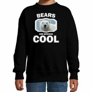Dieren witte ijsbeer sweater zwart kinderen - bears are cool trui jongens en meisjes