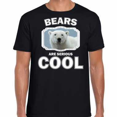 Dieren witte ijsbeer t-shirt zwart heren - bears are cool shirt