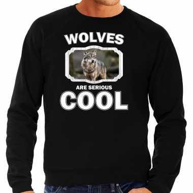 Dieren wolf sweater zwart heren - wolfs are cool trui