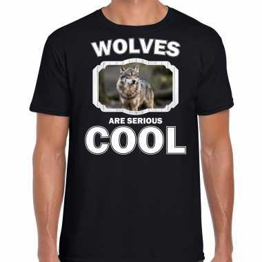 Dieren wolf t-shirt zwart heren - wolfs are cool shirt