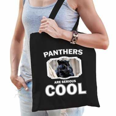 Dieren zwarte panter tasje zwart volwassenen en kinderen - panthers are cool cadeau boodschappentasj
