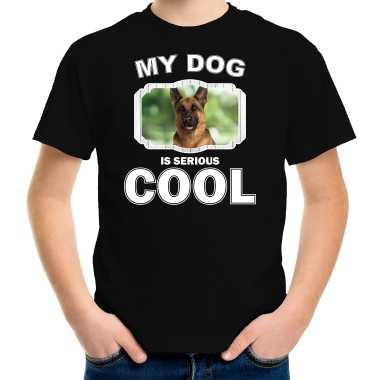 Duitse herder honden t-shirt my dog is serious cool zwart voor kinderen