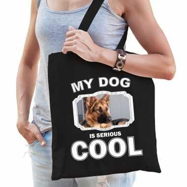 Duitse herder honden tasje zwart volwassenen en kinderen - my dog serious is cool kado boodschappent