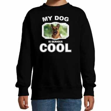 Duitse herder honden trui / sweater my dog is serious cool zwart voor kinderen
