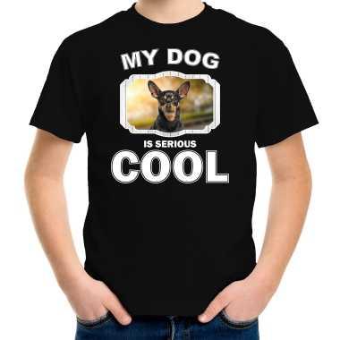 Dwergpinscher honden t-shirt my dog is serious cool zwart voor kinderen