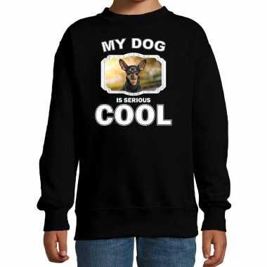 Dwergpinscher honden trui / sweater my dog is serious cool zwart voor kinderen