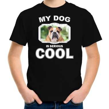 Engelse bulldog honden t-shirt my dog is serious cool zwart voor kinderen