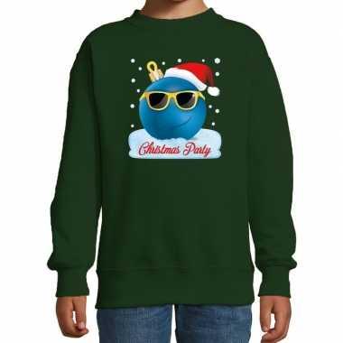 Foute kersttrui / sweater coole kerstbal groen voor jongens