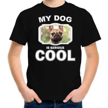 Franse bulldog honden t-shirt my dog is serious cool zwart voor kinderen