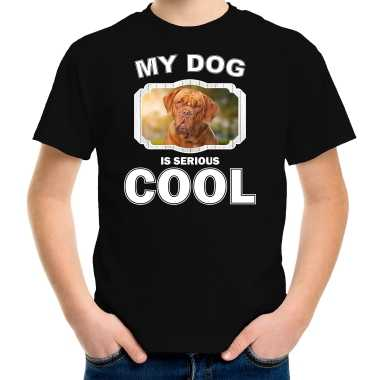 Franse mastiff honden t-shirt my dog is serious cool zwart voor kinderen