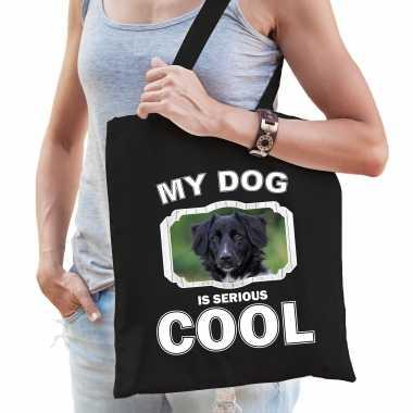 Friese stabij honden tasje zwart volwassenen en kinderen - my dog serious is cool kado boodschappent