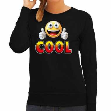 Funny emoticon sweater cool zwart dames