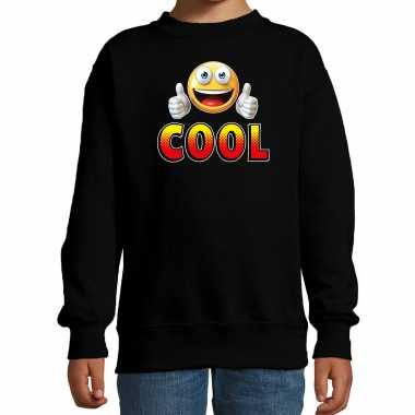 Funny emoticon sweater cool zwart kids