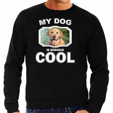 Golden retriever honden sweater / trui my dog is serious cool zwart voor heren