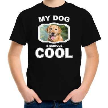 Golden retriever honden t-shirt my dog is serious cool zwart voor kinderen
